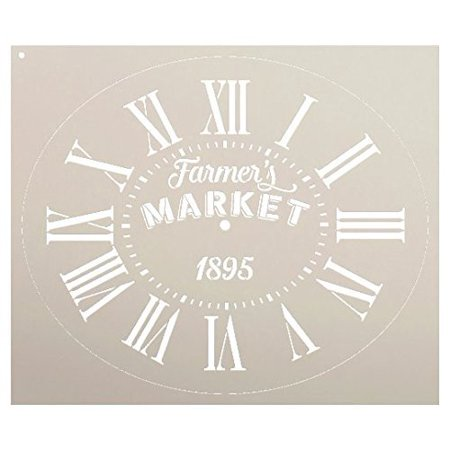 Oval Clock Stencil w/Roman Numerals - Farmers Market Letters - DIY Painting Vintage Rustic Farmhouse Country Home Decor Walls - SELECT SIZE - Rustic Diy Decor