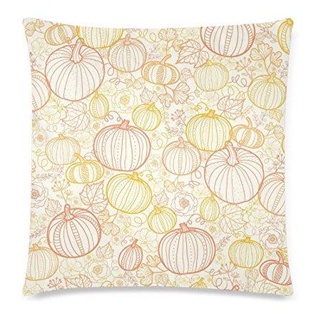 ZKGK Thanksgiving Art Home Decor, Pumkins Seamless Pattern Pillowcase Cushion 18 x 18 Inches,Autumn Pumpkin Color Pillow Cover Case Shams Decorative - Hulk Pumpkin Pattern