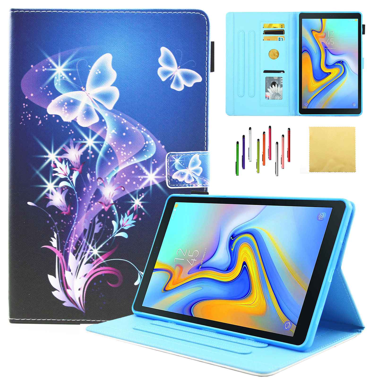 Galaxy Tab A 10.5 inch Case, Goodest Smart Folding Folio Protective Cover with Kickstand Pencil Card Holder for Samsung Galaxy Tab A 10.5 SM-T590/T595/T597 Tablet, Sparkle Butterfly