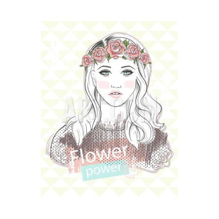 Young Girl Fashion Illustration. Pastel Fashion Trend. Girl with Flower Crown. Print Wall Art By cherry blossom - Cherry Blossom Girl Halloween