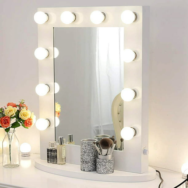 Chende Gloss White Makeup Vanity Mirror With Lights Hollywood Lighted Mirror With Led Bulbs Tabletop Illuminated Wall Mounted Cosmetic Mirror Walmart Com Walmart Com