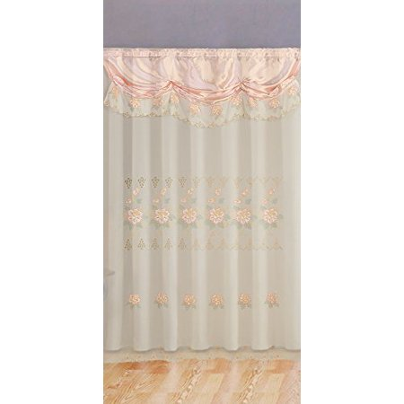 Peach Pink Room Decor Embroidery Sheer Valence Window Curtain Drapes 60x90+18