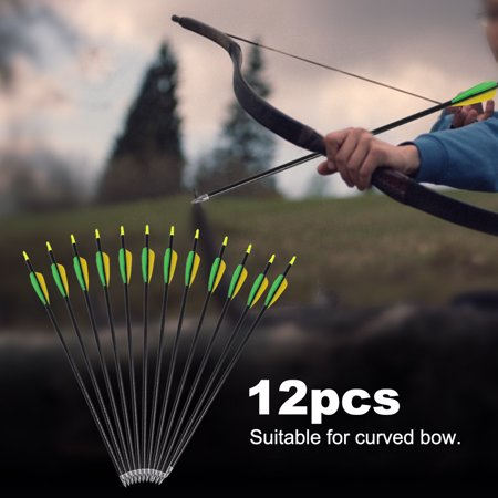 Anauto 12pcs 20inch Aluminium Alloy Arrow Compound Curved Bow Archery Accessory, Aluminium Alloy Arrow, 20inch Arrow
