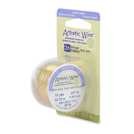 Artistic Wire 26-Gauge Silver Plated Gold Wire, 15-Yards, Great for making jewelry components such as chain maille, beaded chain, jump rings,.., By