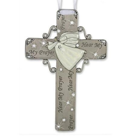 Metal Cross with Messenger Angel - Hear My Prayer - White Enamel & Silver Pewter - 6