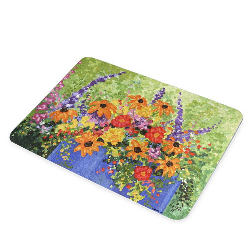 KuzmarK Glass Cutting Board - Summer Flowers in Blue Pot Art by Denise Every