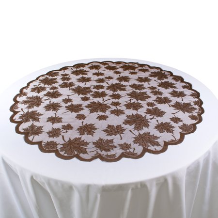 Design Imports Lace Leaf Table Topper - Brown - 40 X 40