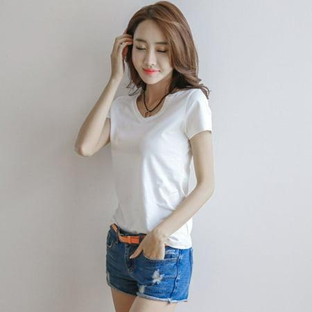 Women Summer Short Sleeve T-Shirt Casual Comfortable Cotton Ladies Shirt Tops - image 1 of 5