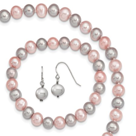 - 925 Sterling Silver Pink/grey 8mm Freshwater Cultured Potato Pearl 3 Piece Gift Set Necklace Pendant Charm Bracelet Drop Dangle