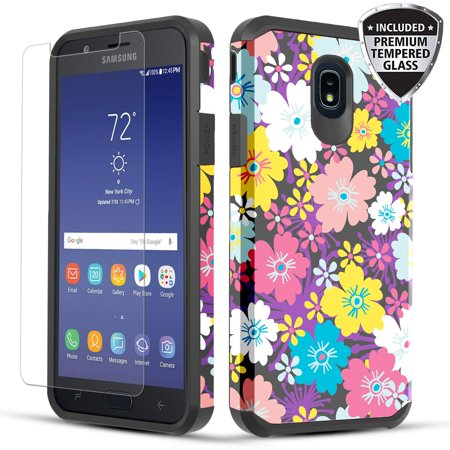 Galaxy J7 2018/ J7 Crown/J7 Star Case, Shockproof Hybrid Case with [Tempered Glass Screen Protector] for Samsung Galaxy J7 2018/J7 Crown/J7 Star/J7 Refine/J7 V 2nd Gen - Rainbow Flowers Yellow Flowers Protector Faceplate