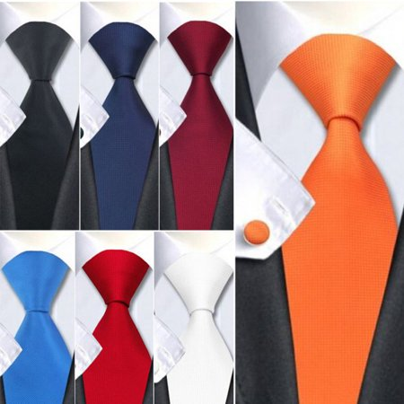 - EFINNY Classic Men's Silk Tie Solid Plain Jacquard Woven Wedding Party Necktie Set