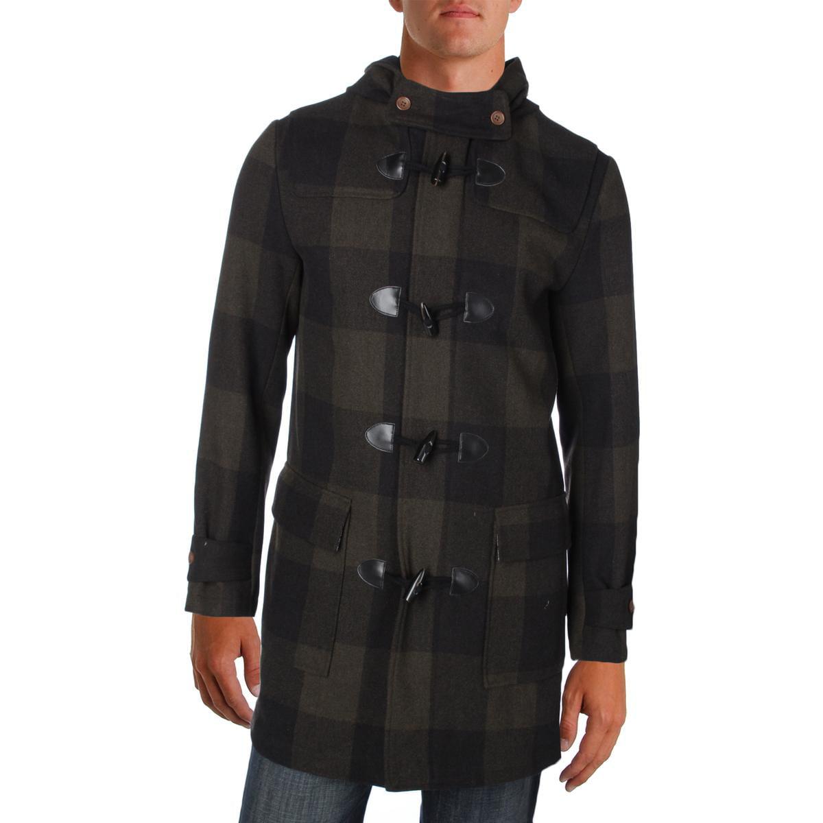 Penguin By Munsingwear Mens Paddington Checkered Wool Blend Duffle Coat by Penguin By Munsingwear