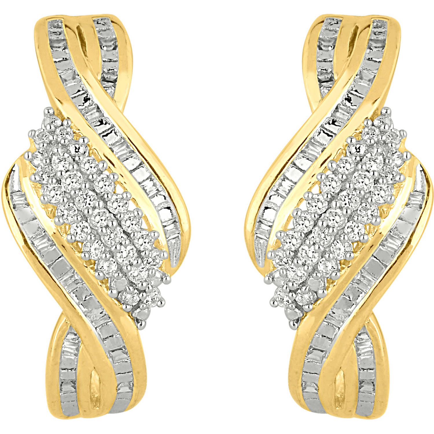 1/2 Carat T.W. Diamond 10kt Yellow Gold Twist Shrimp Earrings