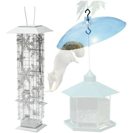 - Perky-Pet Squirrel-Be-Gone Snowflake Wild Bird Feeder with Baffler
