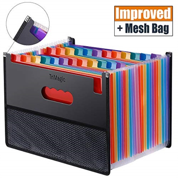 26 Pockets Accordian File Organizer Expanding Filing Box W Mesh Bag Accordion Fo
