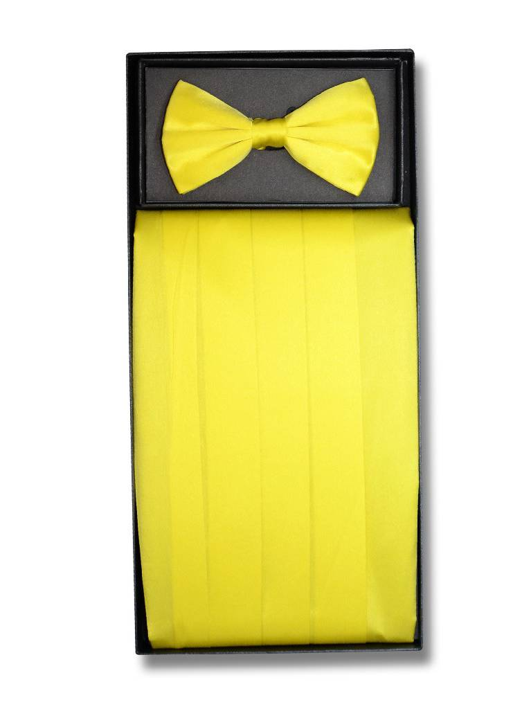 SILK Cumberbund & BowTie Solid GOLDEN YELLOW Color Men's Cummerbund Bow Tie Set