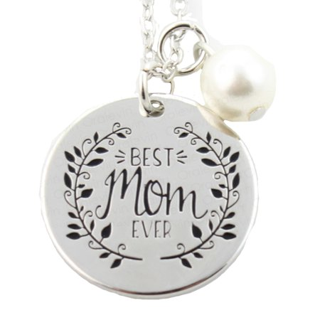 Best Mom Ever Silverplated Pendant With Pearl Necklace,