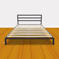 Zimtown Sturdy Bed Frame Full Size Easy Set-up Premium Metal Platform Mattress Foundation with Headboard and Wooden Slat Support (Black)