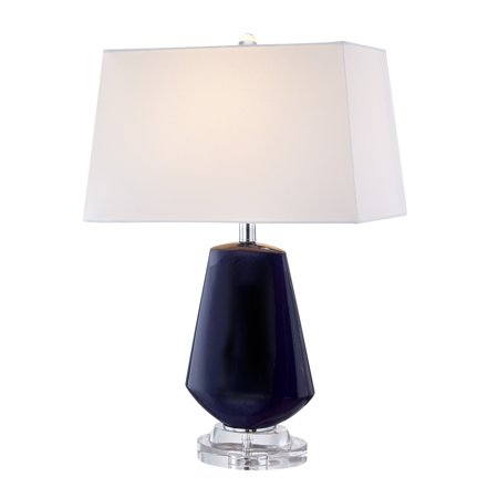 Sagebrook Home Glass Diamond Shape Table Lamp, Navy Blue, 26