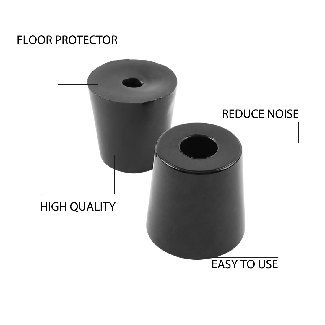 6pcs Rubber Feet Bumper Furniture Table Speaker Cabinet Leg Pads, D33x27xH33mm - image 4 de 7