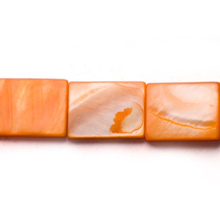 Rounded Rectangle Beads (Orange Mother-Of-Pearl Flat Rectangle Shell Beads Size:20x15mm)