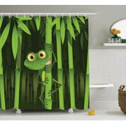 Animal Decor Shower Curtain Set, Funny Illustration Of Friendly Fun Frog On Stem Of The Bamboo Jungle Trees Cute Nature Print, Bathroom Accessories, 69W X 70L Inches, By Ambesonne