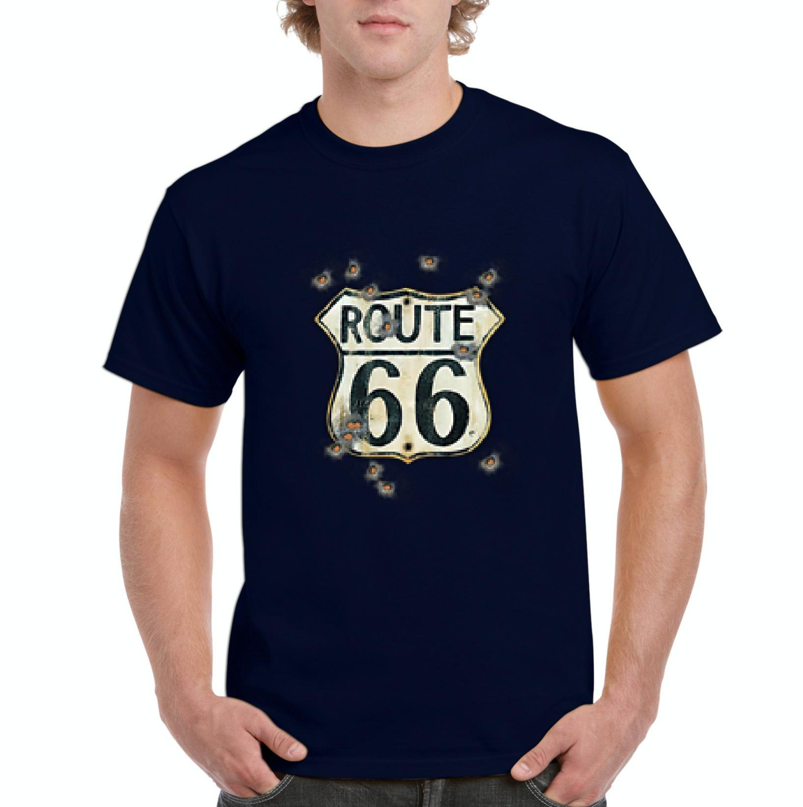 J_H_I Route 66 Gun Holes Traveler Gift for Birthday Christmas Fathers Day Mens Shirts