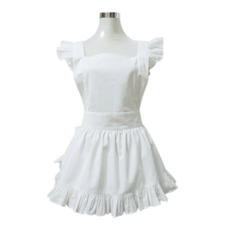 Aspire Kitchen Apron For Women Retro Cotton Frilly Maid Apron Vintage Costume Halloween Party Gift-White - Ladies Costumes For Halloween