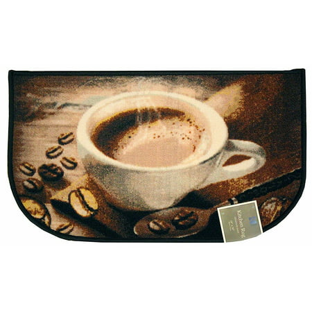 - Kashi Home D-Shaped Mat with Latex Back Coffee Bean Collection Kitchen Rug, 18