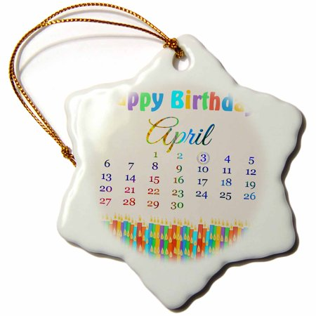 3dRose Birthday on April 3rd, Colorful Birthday Candles with Flames, Snowflake Ornament, Porcelain, 3-inch