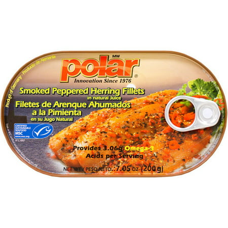 Peppered Mackerel - (3 Pack) MW Polar Smoked Peppered Herring Fillets in Natural Juice, 7.05 oz