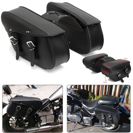 2x Universal Saddle Bag Cross Rider Panniers Tool Luggage leather PU Motorcycle (Tooled Leather Luggage)