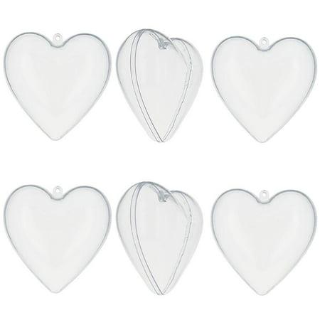 3 quot set of 6 diy clear plastic heart ornaments walmart com
