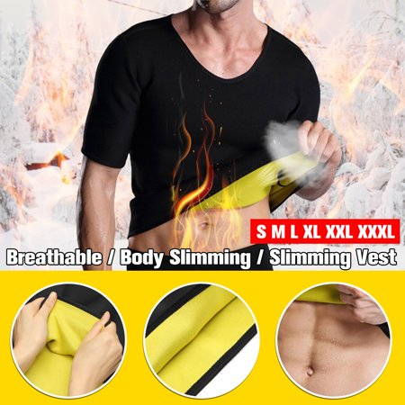 Men's Neoprene Slimming Vest Sweat Tank Top Shirt Body Slimming Shaper Sauna Shirt Gym Exercise
