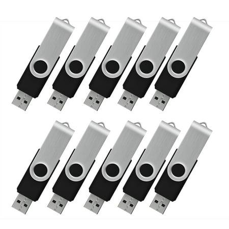KOOTION 10Pack 1GB USB Flash Drive Memory Stick Fold Storage Thumb Pen Drive Swivel, Black