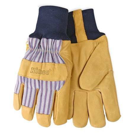 Kinco 1927KW-XS Men's Lined Grain Pigskin Leather Palm Gloves With Knit Wrist (Size: X-Small)](Gold Lame Gloves)