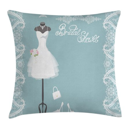 Bridal Shower Decorations Throw Pillow Cushion Cover, Vintage French Inspired Bride Dress with Floral Frames, Decorative Square Accent Pillow Case, 16 X 16 Inches, Baby Blue and White, by (Inspired Bridle)