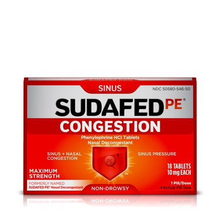 Sinus Tablet Vitamins - Sudafed PE Congestion & Sinus Pressure Relief, Maximum Strength, 18 ct