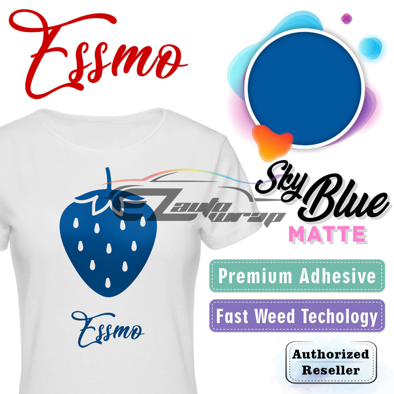 "ESSMO Sky Blue Matte Solid Heat Transfer Vinyl HTV Sheet T-Shirt 20"" Wide Iron On Heat Press 20""x72"""