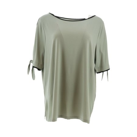 Belle Kim Gravel Color Tipping Split Elbow Slv Top A305581