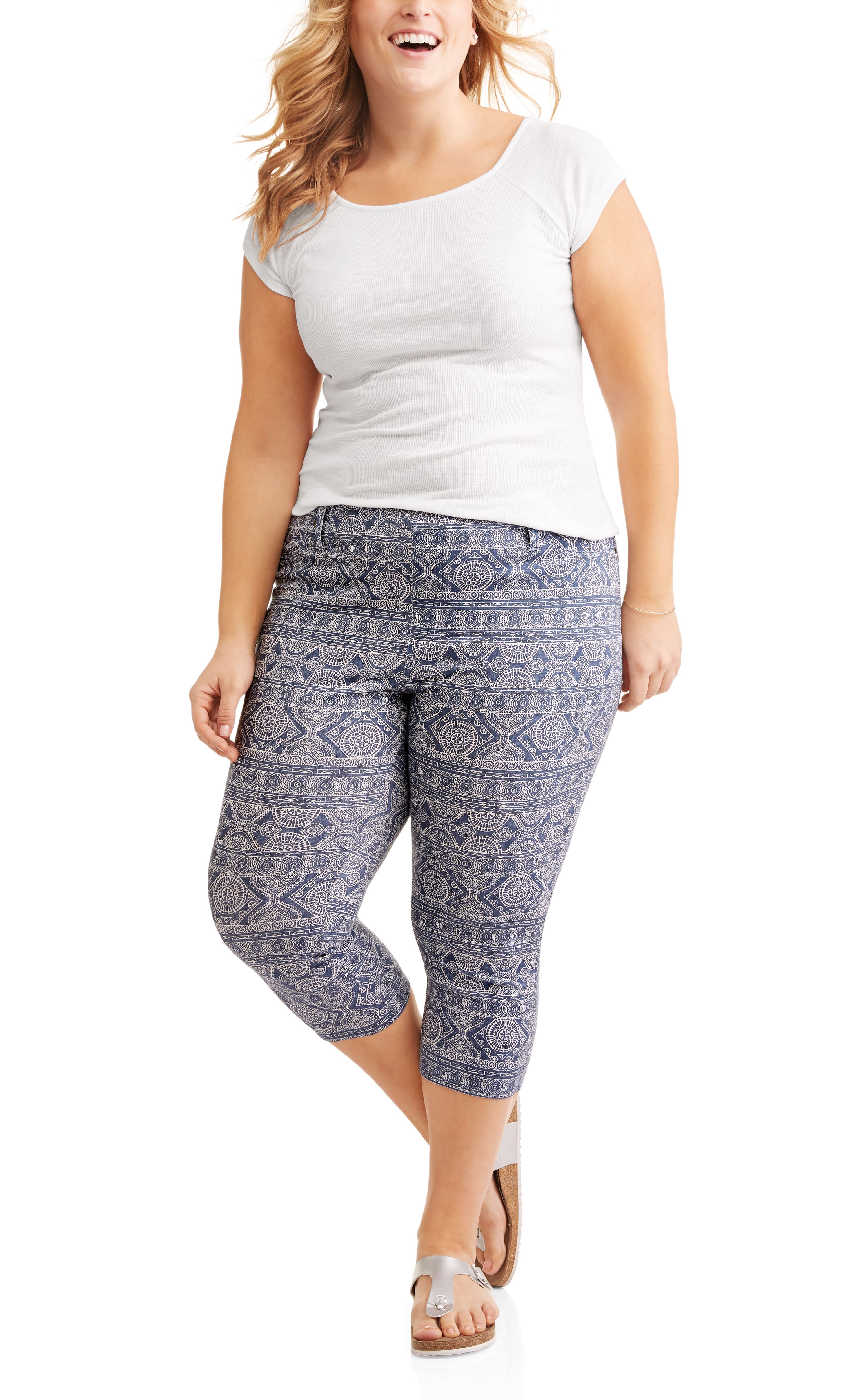 Terra /& Sky Olive Branch Plus Size Generous Fit Ankle Jegging