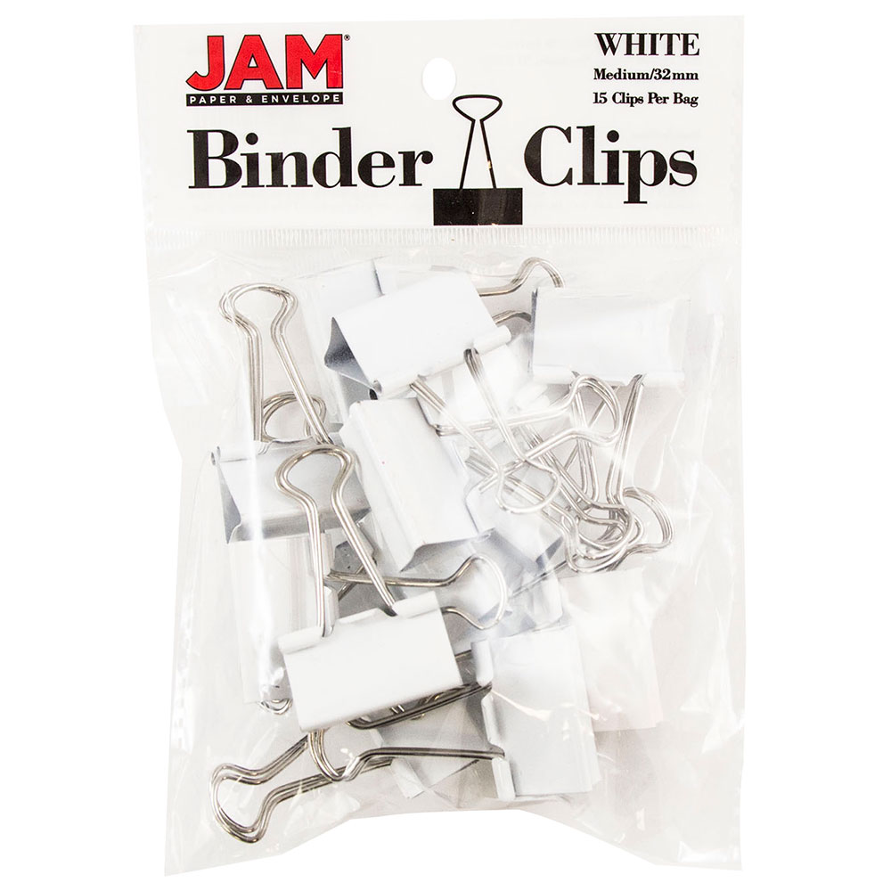 JAM Paper Binder Clips, Medium, 32mm, White Binderclips, 15/pack