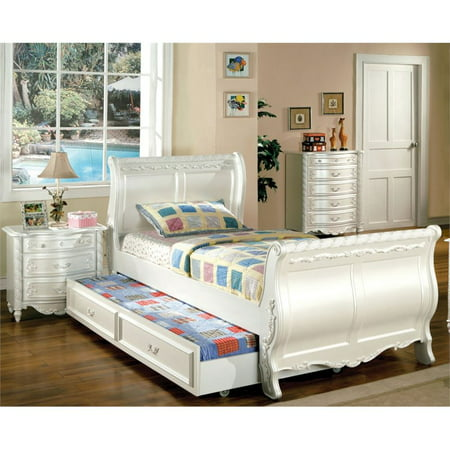 furniture of america rollison 2 piece twin sleigh bedroom