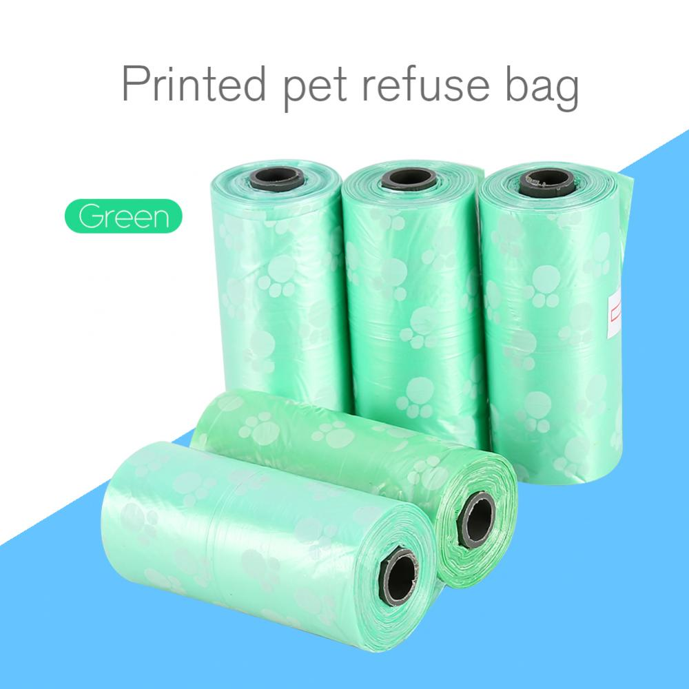 4 Colors Optional 5 Rolls Portable Printed Pet Puppy Dog Cat Waste Clean Poop Pick Up Garbage Bags,Garbage Bags, Waste Clean Poop Pick Up