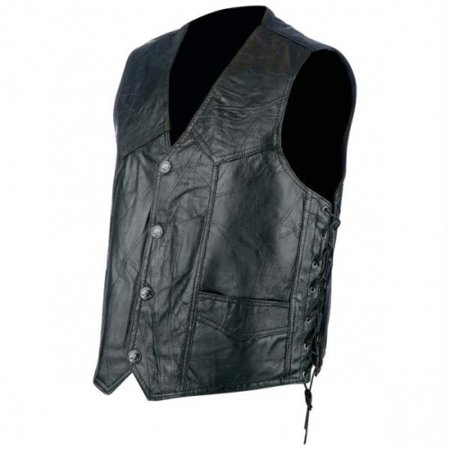 Rocky Ranch Hides™ Rock Design Genuine Hog Leather Biker Vest - Large - GFVLACEL (Authentic Black Leather Vest)
