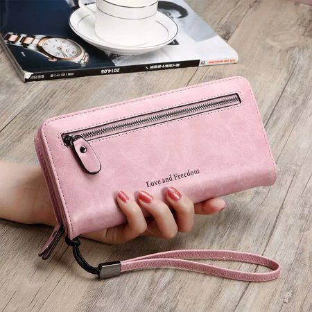 PU Leather Long Wallet Clutch Handbag Zipper Organizer Wristlets Card Cellphone Holder Purse for Women Lady Girls 7.9inch Pink Leather Wristlet