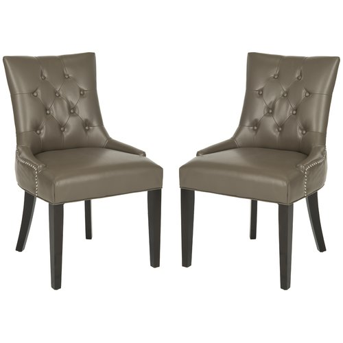 Safavieh Abby Tufted Faux Leather Side Dining Chairs Set of 2 by Safavieh