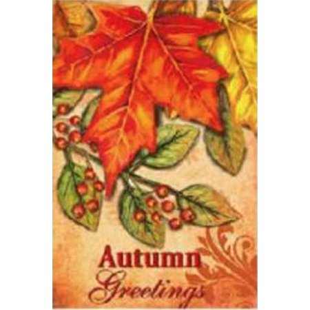 (G128 - Home Decorative Fall Garden Flag Autumn Greetings Quote, Autumn Maple Leaf Garden Yard Decorations, Rustic Holiday Seasonal Outdoor Flag 12