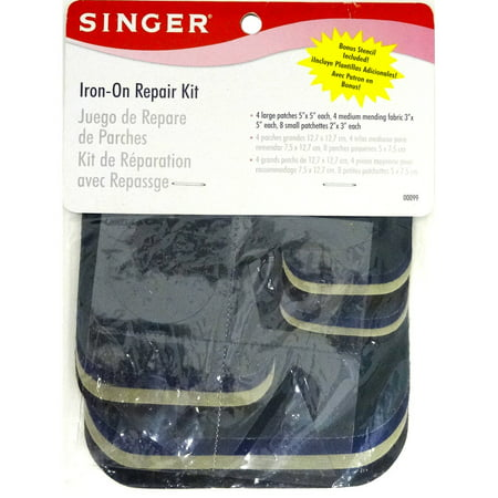Singer Iron-On Patches Repair Kit, Assorted Colors, Twill, 16 Count