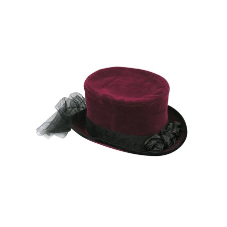 Burgundy Top Hat With Lace Halloween Costume Accessory - Halloween Top Hat Costumes